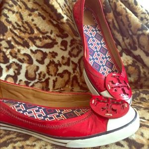 Tory Burch Red Patent Flats